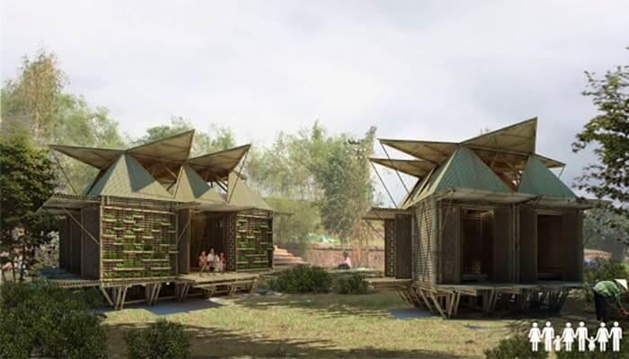 casa sostenible flor de bambú